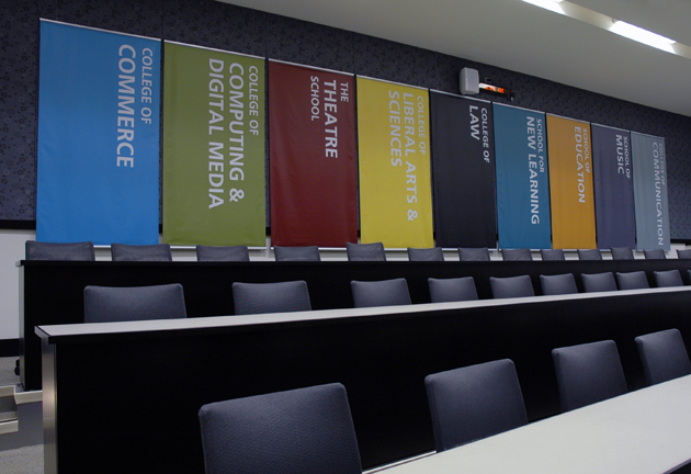 DePaul University Auditorium Graphic Banners