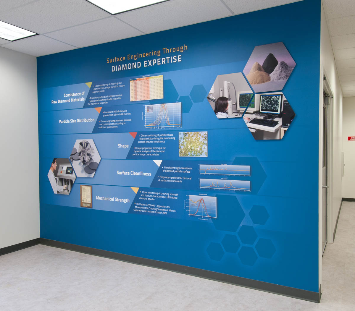 Product wall at engis history donor product walls and for Corporate mural