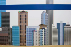Chicago's skyline with CTA Blue Line Graphics