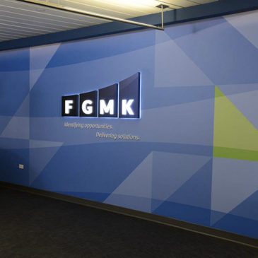 FGMK Logo Wall – Corporate and Institutional Graphic Art Programs